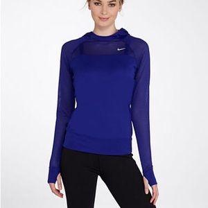 NWOT Women's Nike Blue Lightweight Hooded Top Med